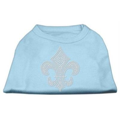 Mirage Pet Products 5230 XXLBBL Silver Fleur de lis Rhinestone Shirts Baby Blue XXL 18