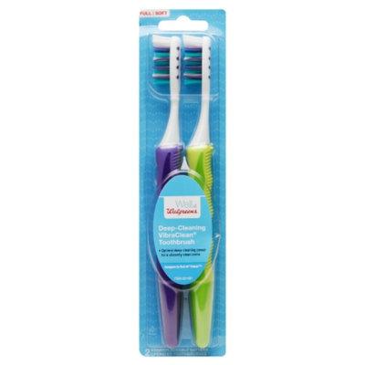Walgreens Deep-Cleaning VibraClean Toothbrush, Full/Soft, 2 ea