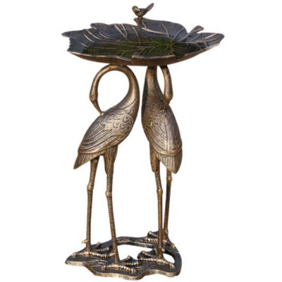 Oakland Living Corp. Two Cranes with Lily Pad Birdbath