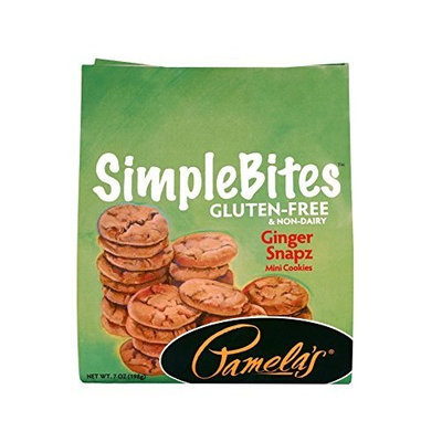 Pamela's Products Gluten Free Simplebites Mini Cookies, Ginger Snapz, 7-Ounce Pouches (Pack of 6)