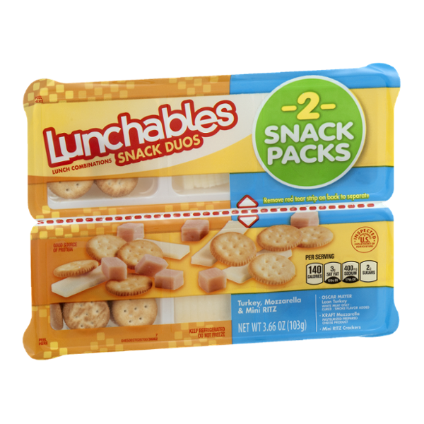 Lunchables Snack Duos Turkey, Mozzarella & Mini Ritz Snack Packs - 2 CT