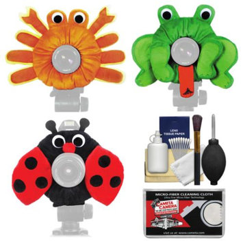 Camera Creatures Ladybug, Frog & Crab Portrait Posing Prop Essentials Bundle with Cleaning Kit