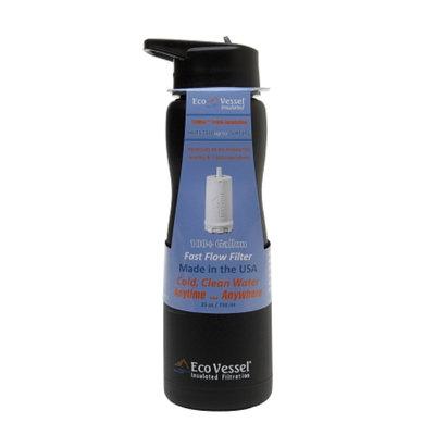 Eco Vessel Aqua Vessel Insulated Filtered Water Bottle/Filtration Bottle w/100 G Filter