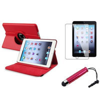 Insten iPad Mini 3/2/1 Case, by INSTEN Red Swivel Leather Case Stand+Protector/Pen for Apple iPad Mini 3rd 3 2nd 1 1st Gen