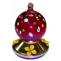 Gardman BA05718 Ball Glass Hummingbird Feeder with Metal Base, Red