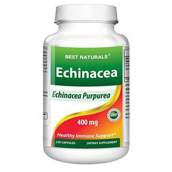 1 Echinacea 400 Mg 250 Capsules By Best Naturals - Manufactured In A Usa Based Gmp Certified Facility And Third Party