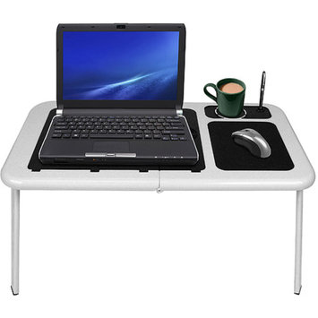 Trademark Global TG Portable Laptop Table with Cooling Fans - White (75-LD09)