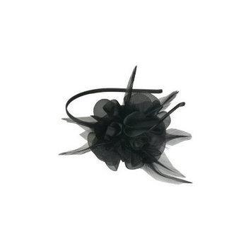 Smoothies Laser Cut Chiffon Flower Feathers Thin Headband-Black 01604