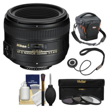 Nikon 50mm f/1.4G AF-S Nikkor Lens with Case + 3 UV/CPL/ND8 Filters + Kit for D3200, D3300, D5200, D5300, D7100, D610, D750, D810, D4s DSLR Cameras