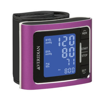 Veridian Healthcare Metallic Style Wrist Blood Pressure Monitor, Pink, 1 ea