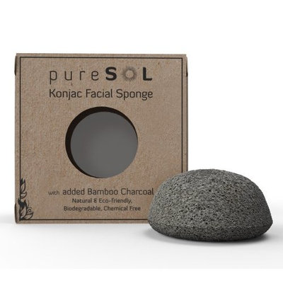 pureSOL Konjac Facial Sponge - Activated Charcoal []