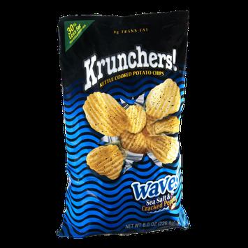 Krunchers Kettle Cooked Waves Sea Salt & Cracked Pepper Potato Chips