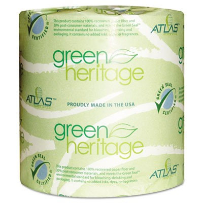 Atlas Paper Mills Green Heritage Bathroom Tissue, 2-Ply, 500 Sheets/Roll, 80 Rolls/Carton