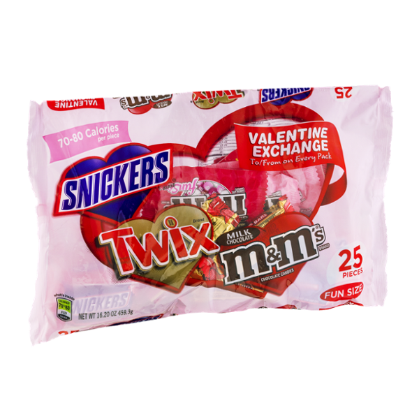Snickers, Twix & M&M's Fun Size Valentine Exchange
