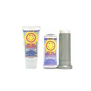 California Baby No Fragrance Two Pack: SPF 30 Sunscreen Lotion and Sunblock Stick