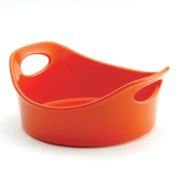 Meyer Corp. Rachael Ray Stoneware 1.5-Quart Orange Round Open Baker