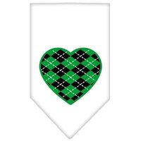 Ahi Argyle Heart Green Screen Print Bandana White Small
