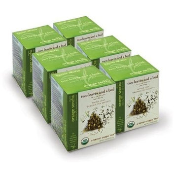 Two Leaves and a Bud Organic Orange Sencha Green Tea, Tea Bags, 15-Count Boxes (Pack of 6)