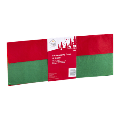 Smart Living Holiday Gift Wrapping Tissue Red & Green - 12 CT