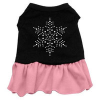 Mirage Pet Products 58-32 XSBKPK Snowflake Rhinestone Dress Black with Pink XS - 8