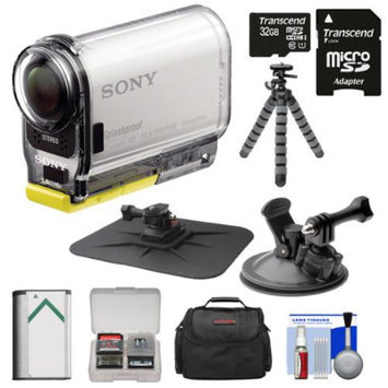 Sony Action Cam HDR-AS100V Wi-Fi GPS HD Video Camera Camcorder with 32GB Card + Battery + Suction Cup & Dashboard Mounts + Case + Tripod Kit