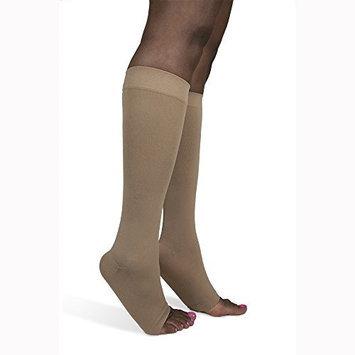 Sigvaris Soft Opaque 841CLLO35 15-20mmHg Open Toe Calf Length Large Long Women Nude