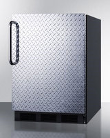 Summit FF63BBIDPLADA 5.5 Cu. Ft. Built-In Undercounter All-Refrigerator with Diamond Plate Wrapped Door Towel Bar Handle Automatic Defrost and Adjustable Glass
