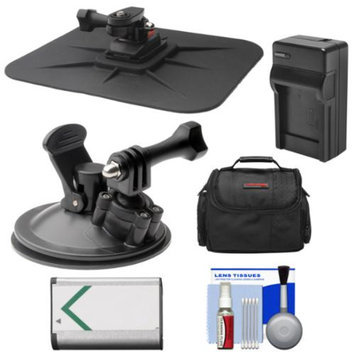 Vivitar Essentials Bundle for Sony Action Cam HDR-AS30V, AS15 & AS100V Camcorders with Car Suction Windshield & Dashboard Mounts + Battery + Charger + Case + Accessory Kit