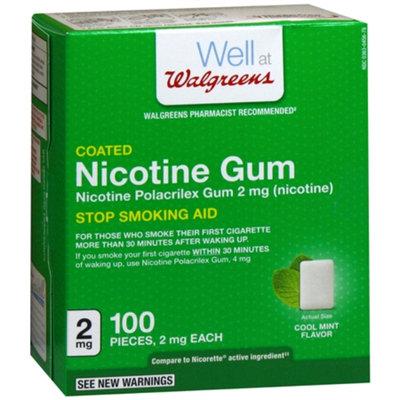 Walgreens Coated Nicotine Polacrilex Gum 2mg, Cool Mint, 100 ea