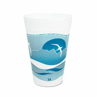 DART 32 Oz Printed Horizon Foam Hot / Cold Cup 25 / Bag in Aqua / White
