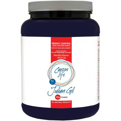 Carson Life By Julian Gil Weight Control Vanilla Flavor Whey Protein Shake Dietary Supplement Powder, 1.5 lbs
