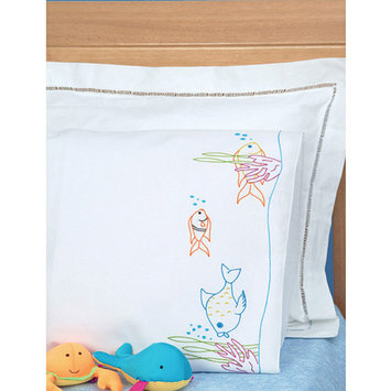 Jack Dempsey Fish At Play Children's Stamped Pillowcase With White Perle Edge