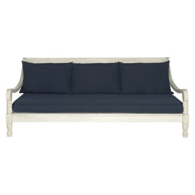 Safavieh Ferrat Wood Patio Day Bed - Antique White/Navy