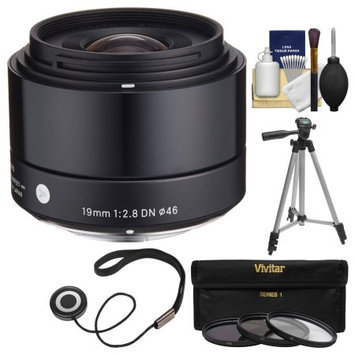 Sigma 19mm f/2.8 EX DN Art Lens (for Olympus / Panasonic Micro 4/3) with 3 UV/CPL/ND8 Filters + Tripod + Kit