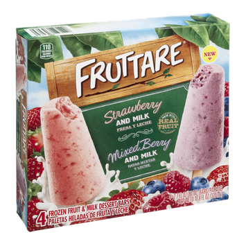 Fruttare Fruit & Dessert Bars Strawberry And Milk Mixed Berry And Milk - 4 CT