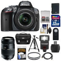 Nikon D5300 Digital SLR Camera & 18-55mm G VR Lens (Grey) with 70-300mm Lens + 32GB Card + Battery + Case + Filters + Flash + Tripod + Accessory Kit