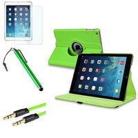 Insten INSTEN Green 360 Rotating Leather Case Cover+LCD+Pen+Cable For Apple iPad Air 5 5th Gen