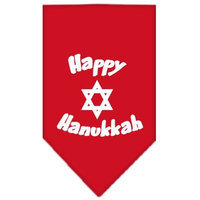 Mirage Pet Products 662503 LGRD Happy Hanukkah Screen Print Bandana Red Large