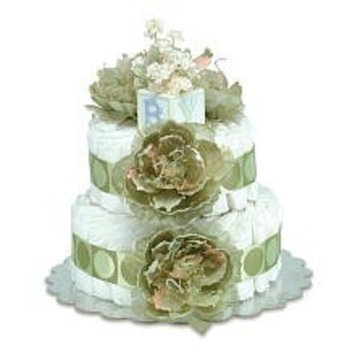 Small Sage Peonies Sage Circle Diaper Cake by Bloomers