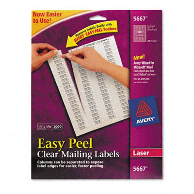 Kmart.com Avery Laser Address Labels, 1/2 x 1-3/4, Clear, 2000/Box