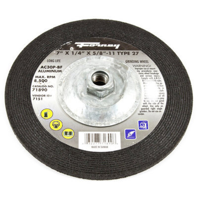 Forney 71890 Grinding Wheel with 5/8-Inch-11 Threaded Arbor Aluminum Type 27 AC46 7-Inch-by-1/4-Inch