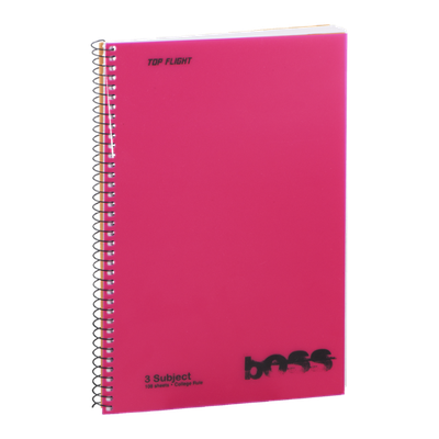 Boss 3 Subject College Rule Notebook - 108 Sheets