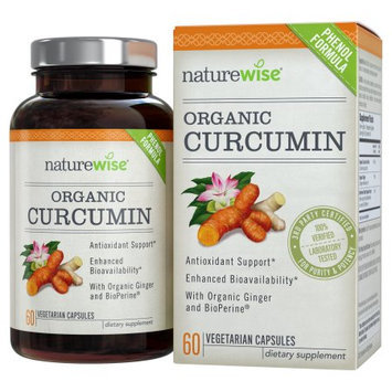 NatureWise Organic Curcumin Turmeric with Ginger and BioPerine, Advanced Absorption Antioxidant, 500 mg, 60 count