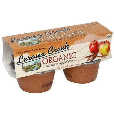 Leroux Creek LeRoux Cree Organic Apple & Cinnamon Sauce, 4-Ounce, 4-Count Cups (Pack of 6)