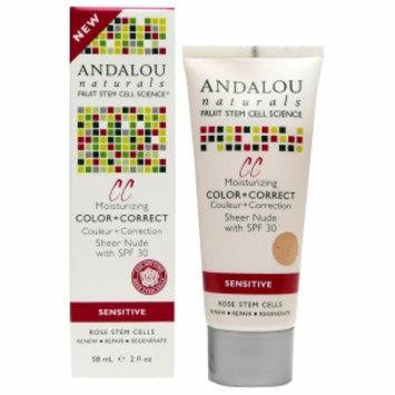 Andalou Naturals 1000 Roses CC Moisturizing Color + Correct SPF 30, Sheer Nude, 2 fl oz