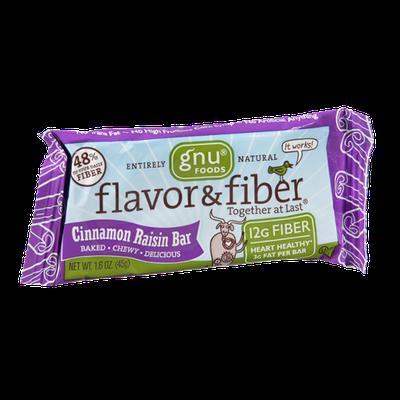 Gnu Foods Flavor & Fiber Cinnamon Raisin Bar