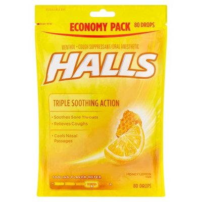 HALLS Honey Lemon Cough Menthol Drops