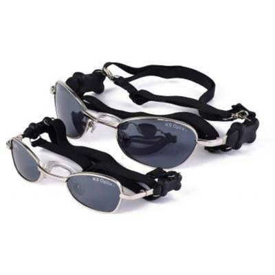 Doggles Large K9 Optix Sunglasses for Dogs, Silver Frame, Smoke Lens