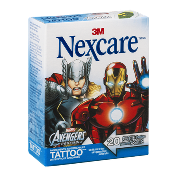 3M Nexcare Marvel Avengers Assemble Waterproof Tattoo Bandages - 20 CT
