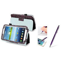 Insten INSTEN Purple Flower Leather Case Stand + Capacitive Touch Stylus with Ballpoint Pen For Samsung Galaxy Tab 3 7.0 P3200